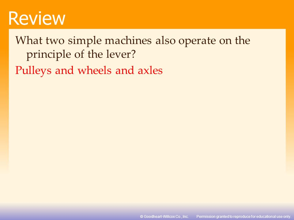 What two simple machines also operate on the principle of the lever
