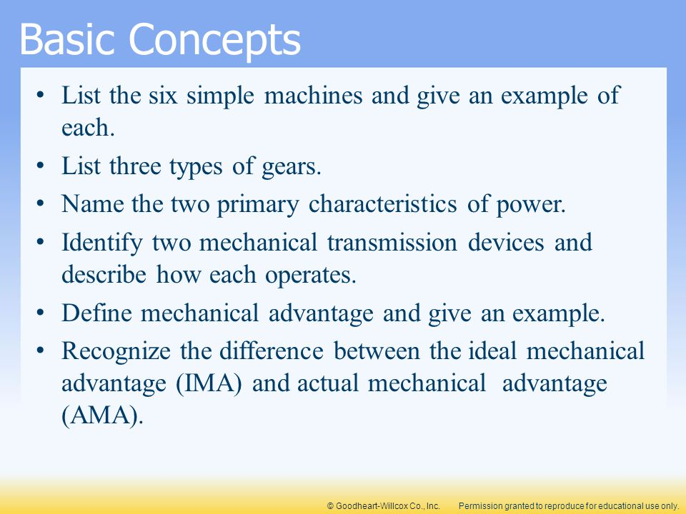 Basic Concepts List the six simple machines and give an example of each. List three types of gears.