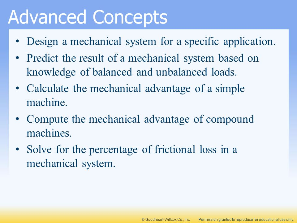 Advanced Concepts Design a mechanical system for a specific application.
