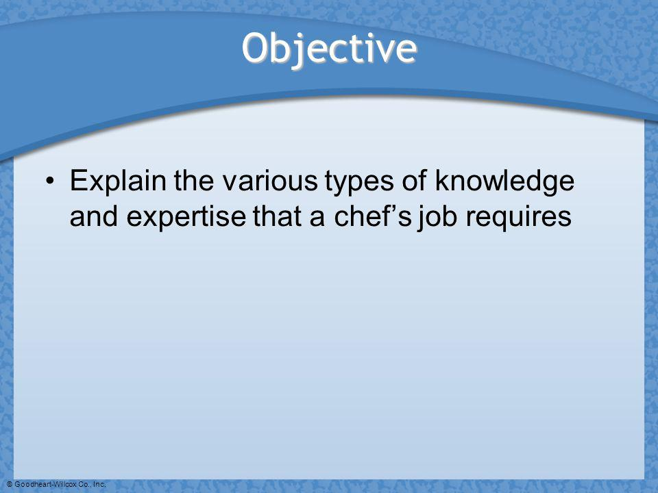 Objective Explain the various types of knowledge and expertise that a chef's job requires.