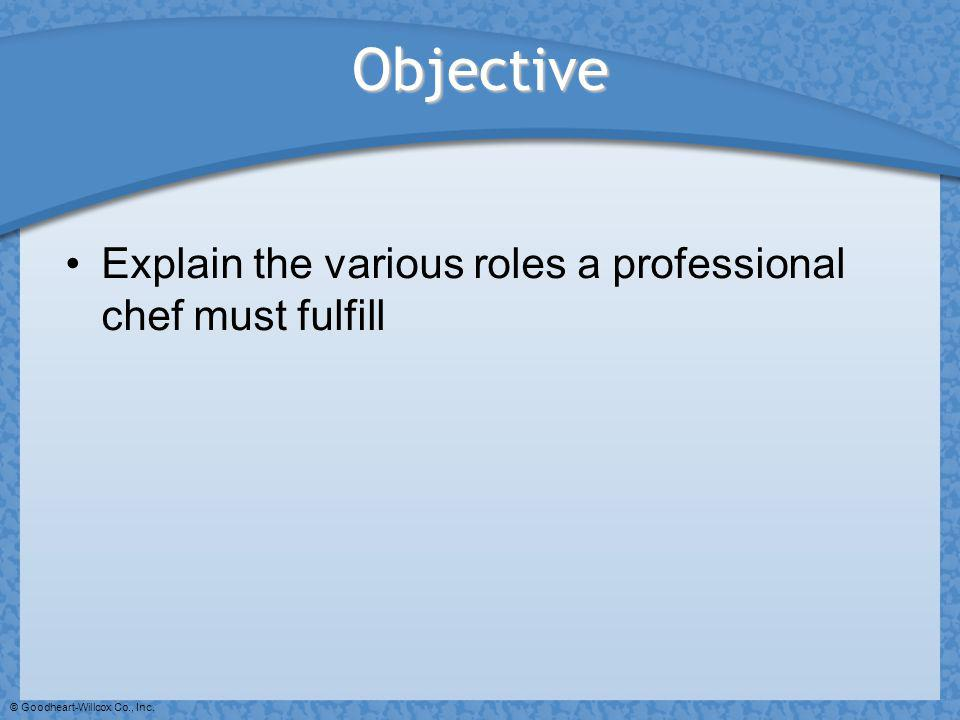 Objective Explain the various roles a professional chef must fulfill