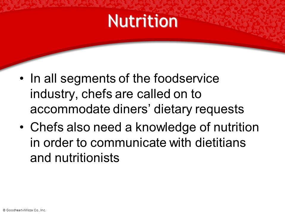 Nutrition In all segments of the foodservice industry, chefs are called on to accommodate diners' dietary requests.