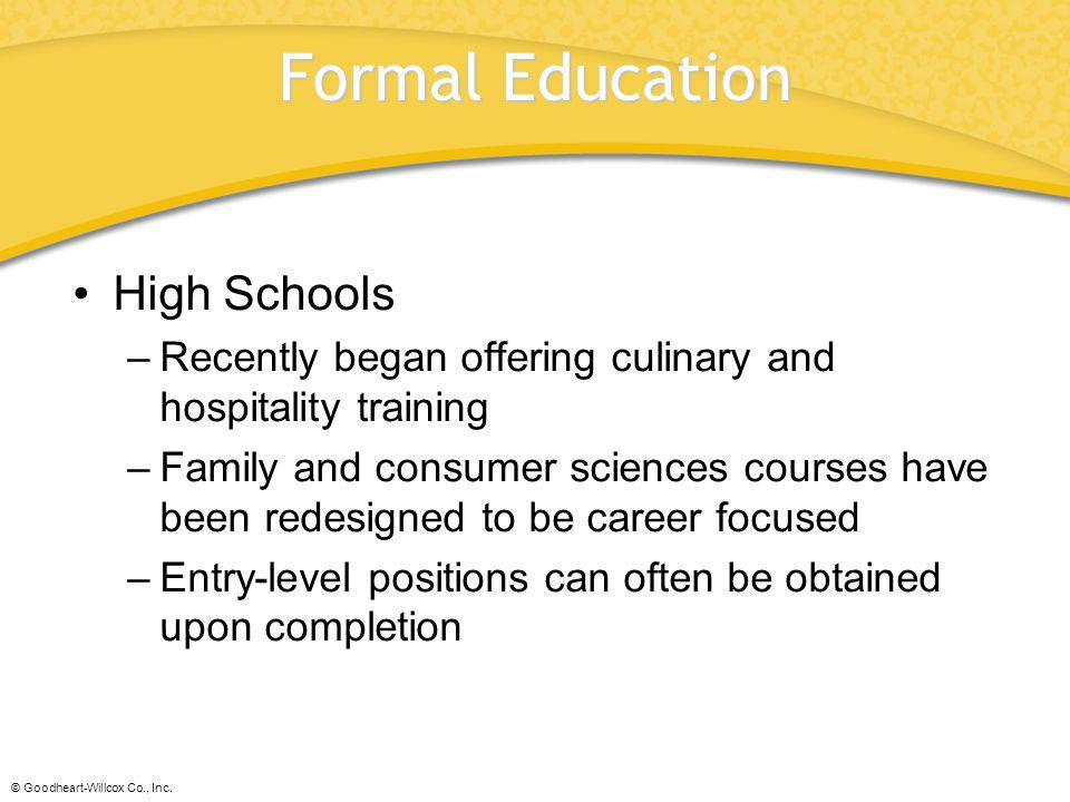 Formal Education High Schools