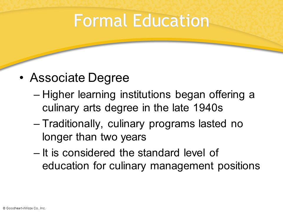 Formal Education Associate Degree