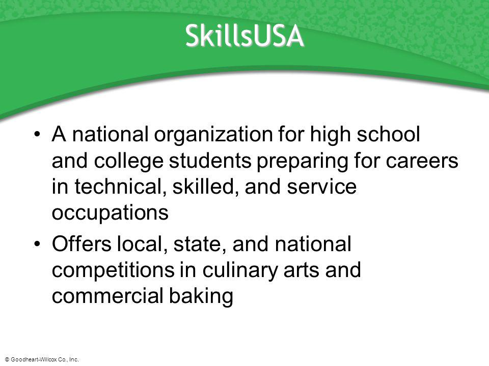 SkillsUSA A national organization for high school and college students preparing for careers in technical, skilled, and service occupations.