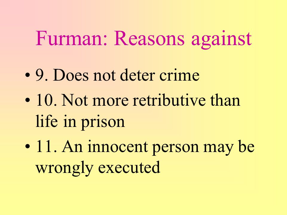 Furman: Reasons against