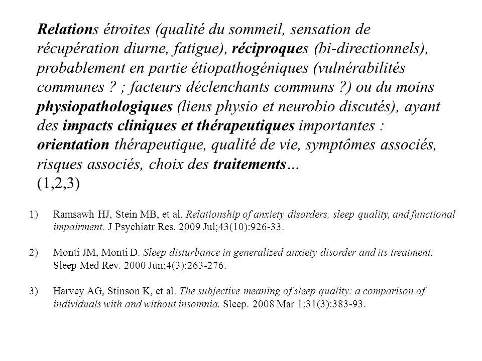 Relations étroites (qualité du sommeil, sensation de récupération diurne, fatigue), réciproques (bi-directionnels), probablement en partie étiopathogéniques (vulnérabilités communes ; facteurs déclenchants communs ) ou du moins physiopathologiques (liens physio et neurobio discutés), ayant des impacts cliniques et thérapeutiques importantes : orientation thérapeutique, qualité de vie, symptômes associés, risques associés, choix des traitements…