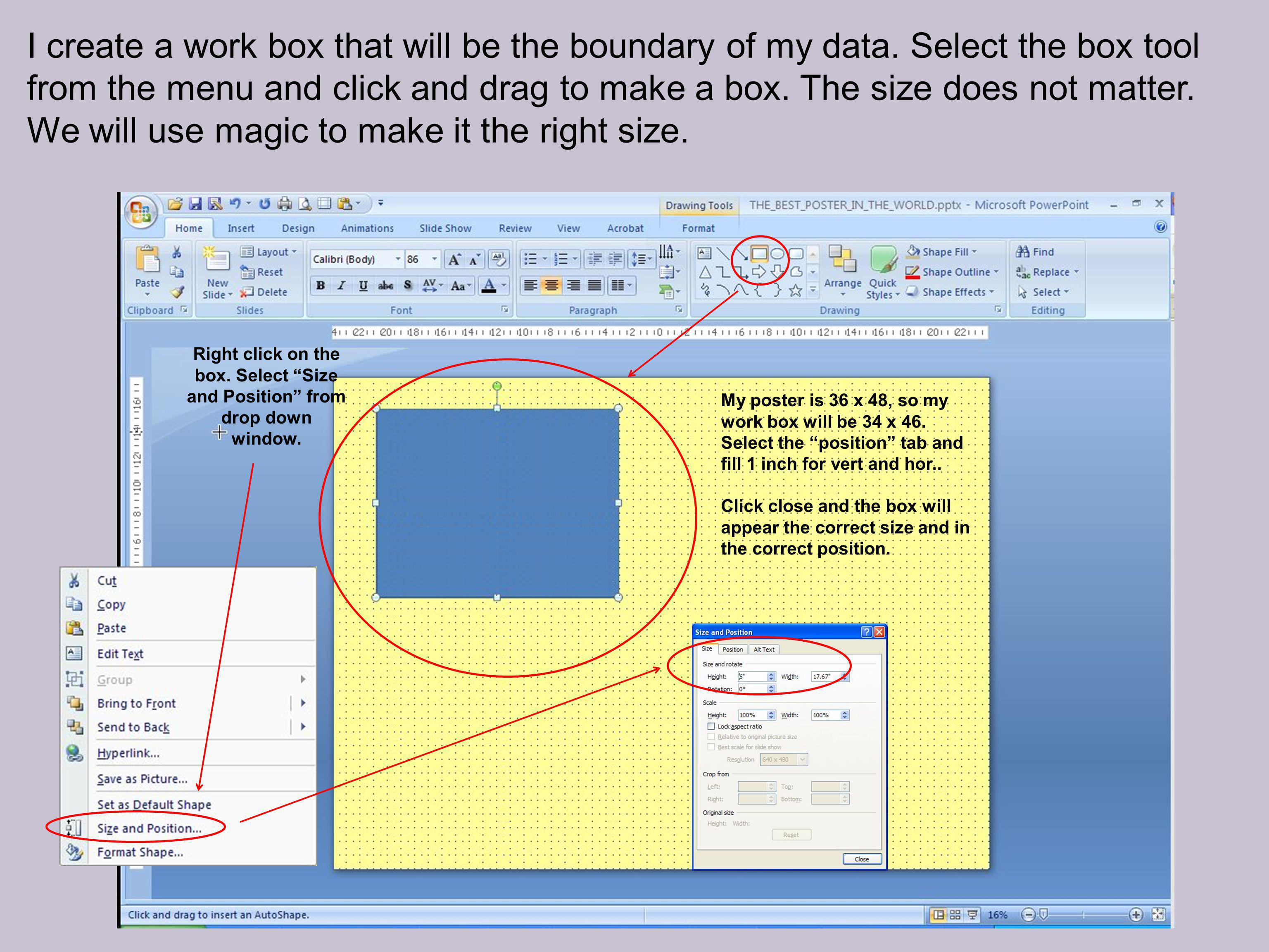 I create a work box that will be the boundary of my data