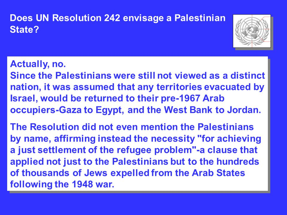 Does UN Resolution 242 envisage a Palestinian State