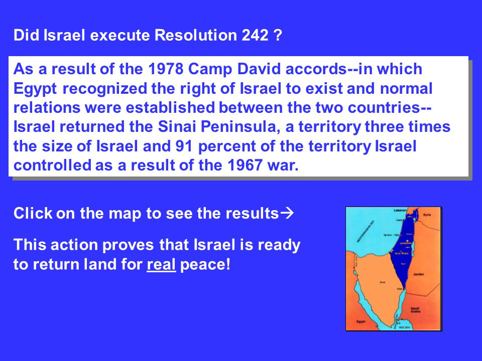 Did Israel execute Resolution 242