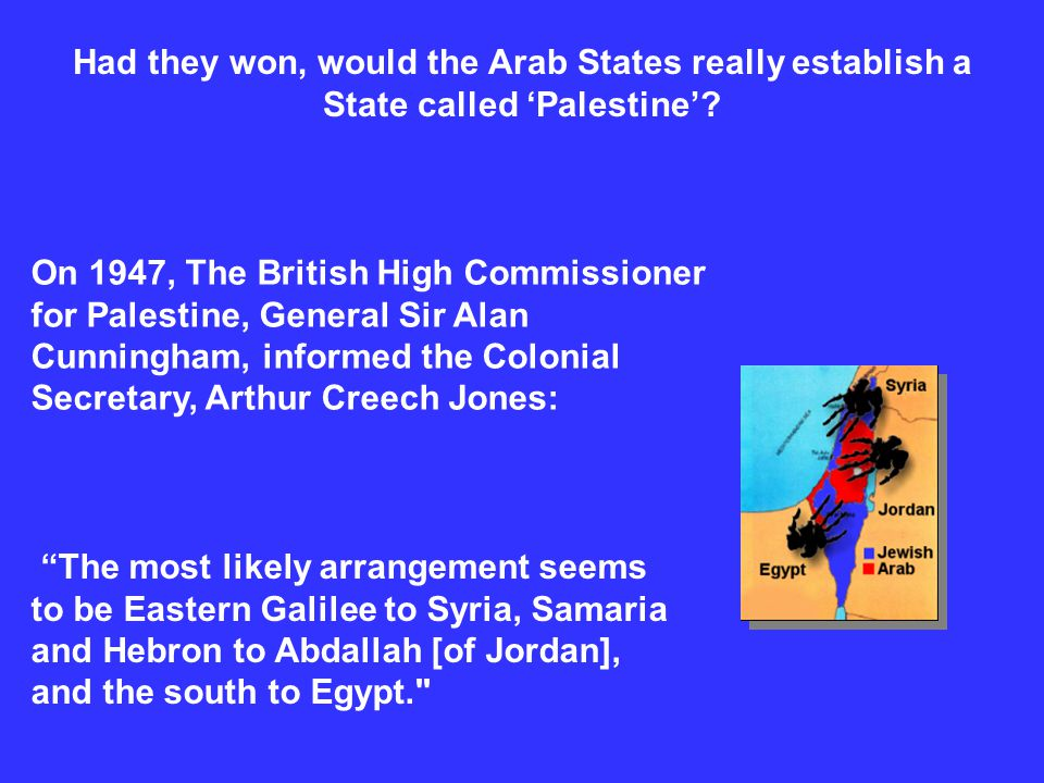 Had they won, would the Arab States really establish a State called 'Palestine'