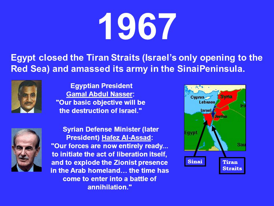 1967 Egypt closed the Tiran Straits (Israel's only opening to the Red Sea) and amassed its army in the SinaiPeninsula.