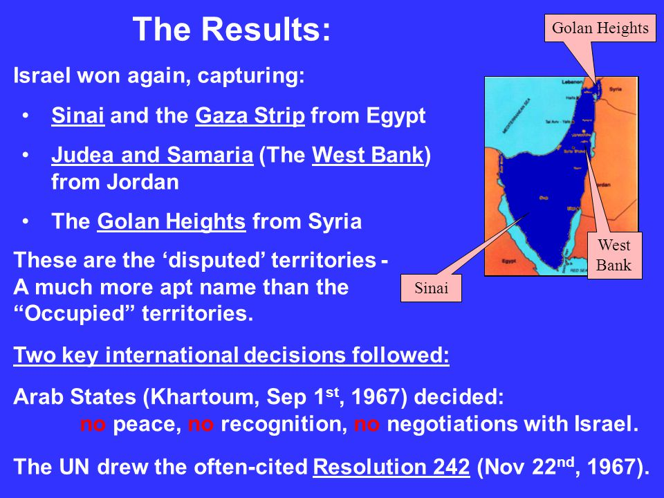The Results: Israel won again, capturing: