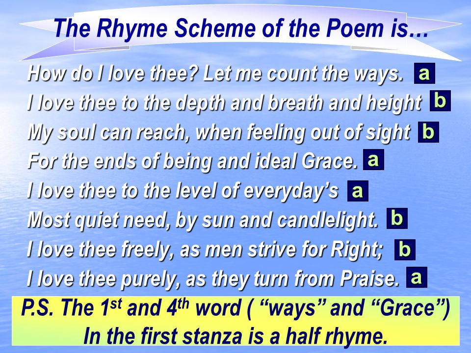 The Rhyme Scheme of the Poem is…