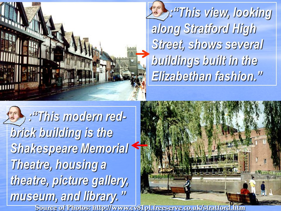 : This view, looking along Stratford High Street, shows several buildings built in the Elizabethan fashion.