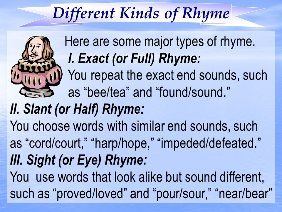Different Kinds of Rhyme