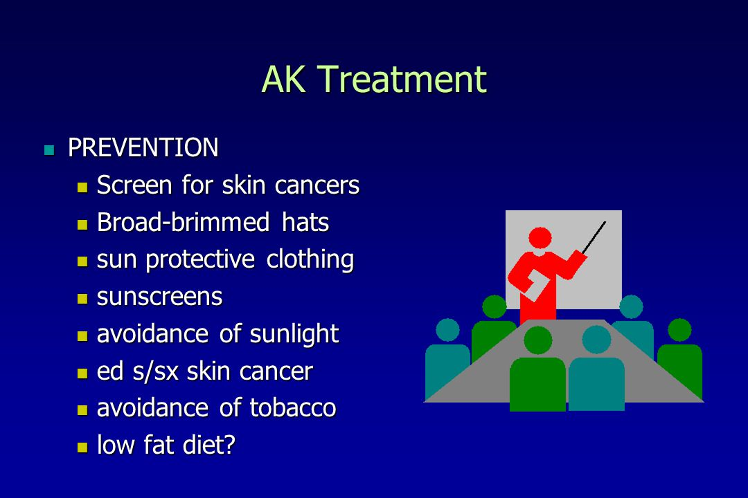 AK Treatment PREVENTION Screen for skin cancers Broad-brimmed hats