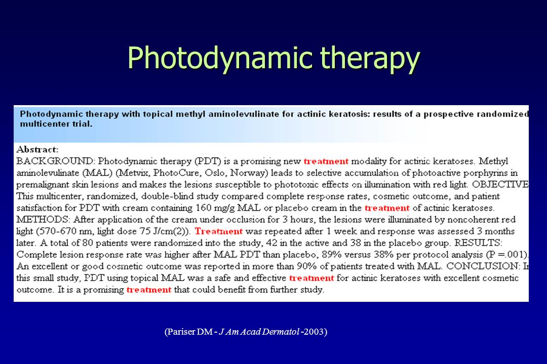 Photodynamic therapy (Pariser DM - J Am Acad Dermatol -2003)