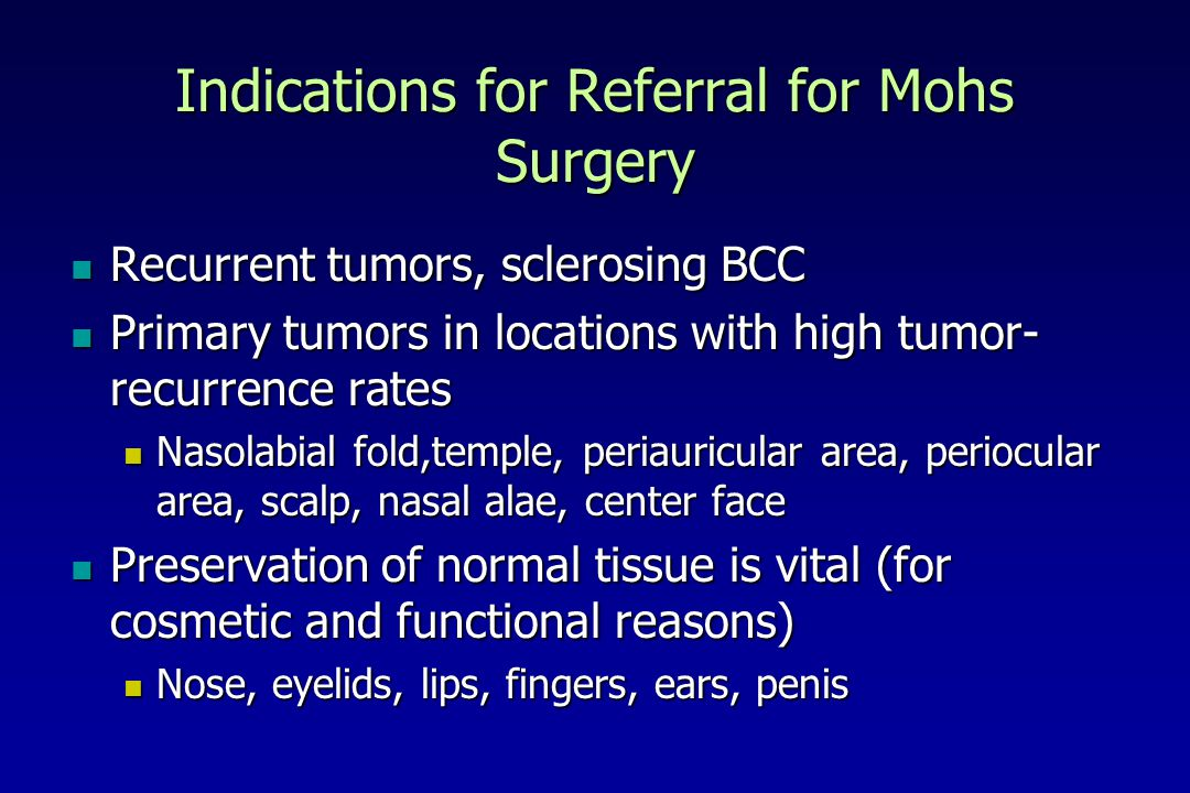 Indications for Referral for Mohs Surgery