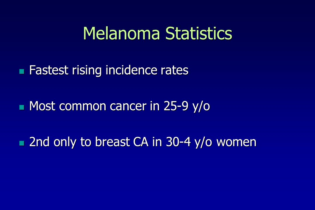 Melanoma Statistics Fastest rising incidence rates