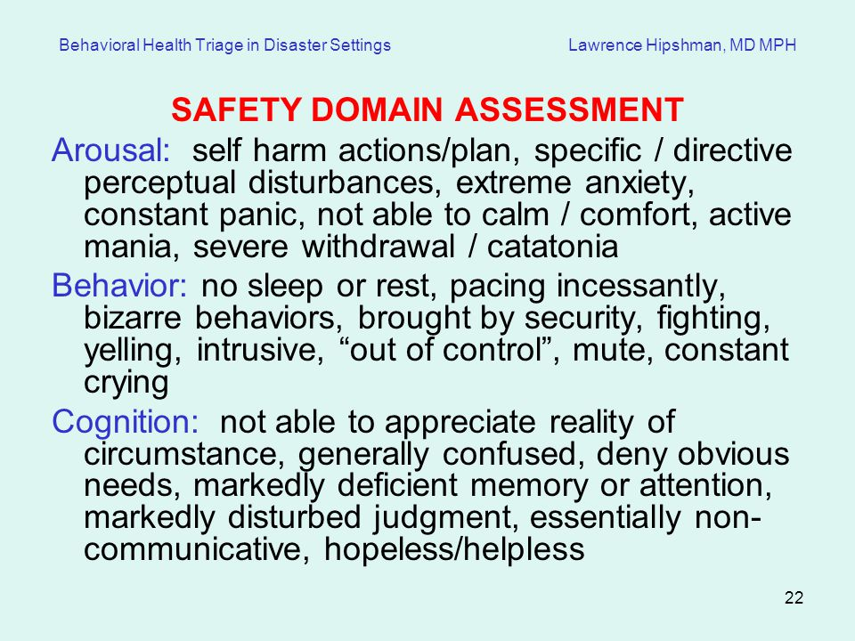 SAFETY DOMAIN ASSESSMENT