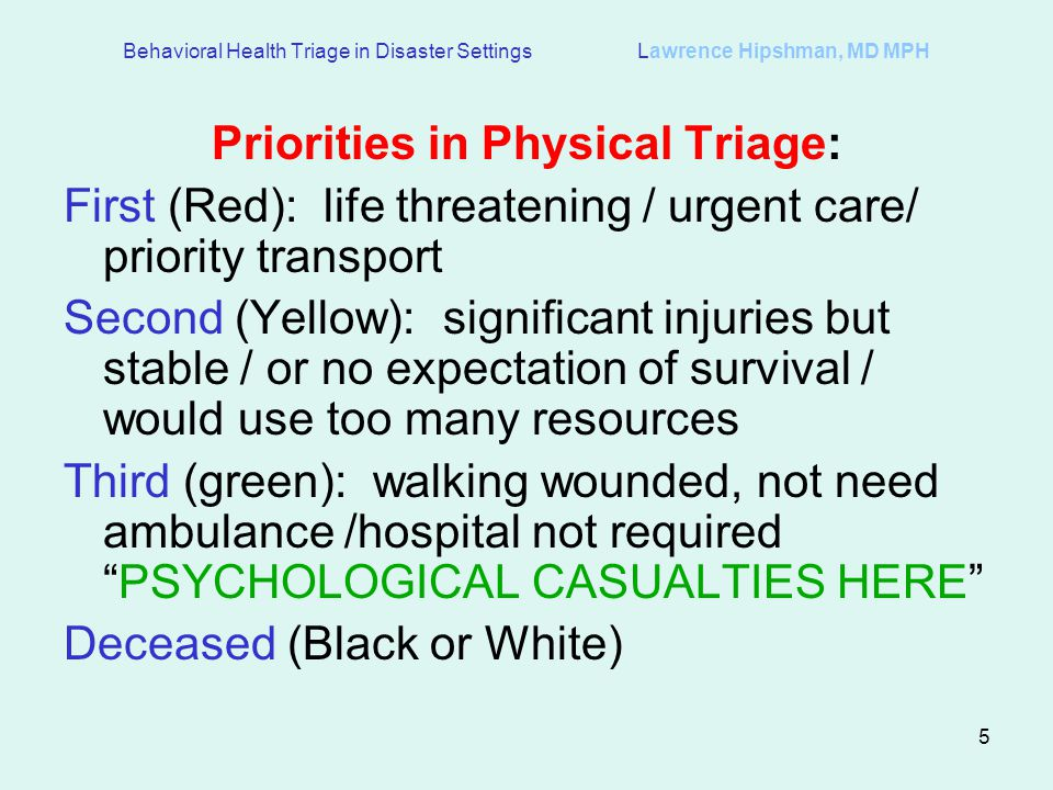 Priorities in Physical Triage: