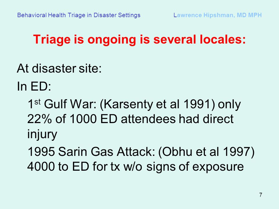 Triage is ongoing is several locales: