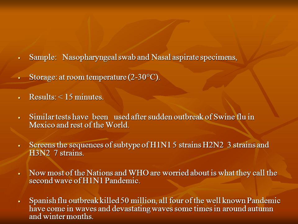 Sample: Nasopharyngeal swab and Nasal aspirate specimens,