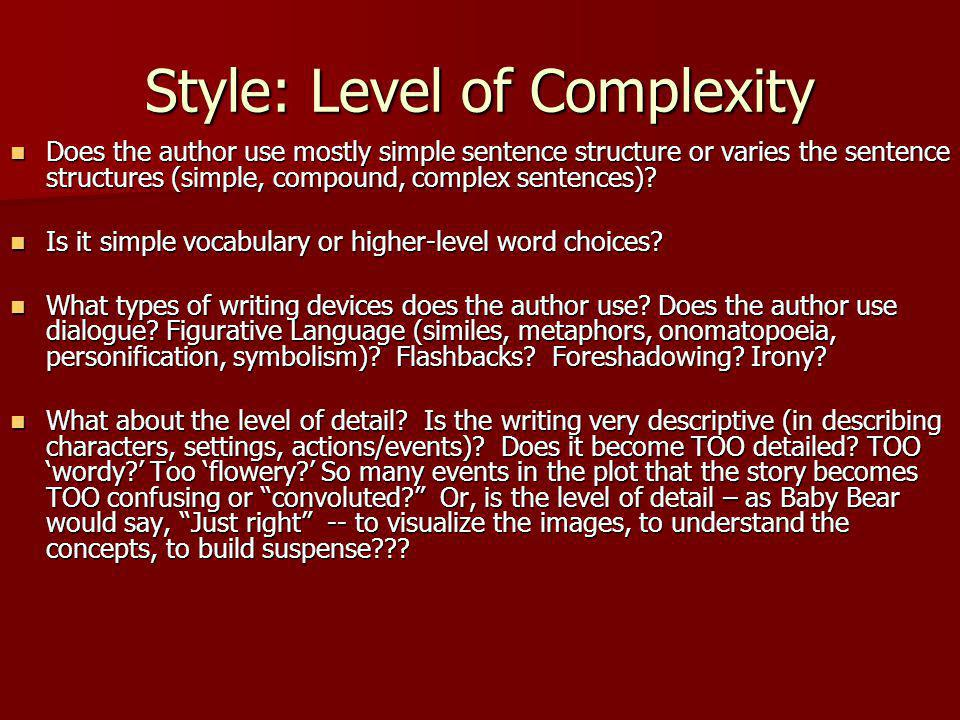 Style: Level of Complexity