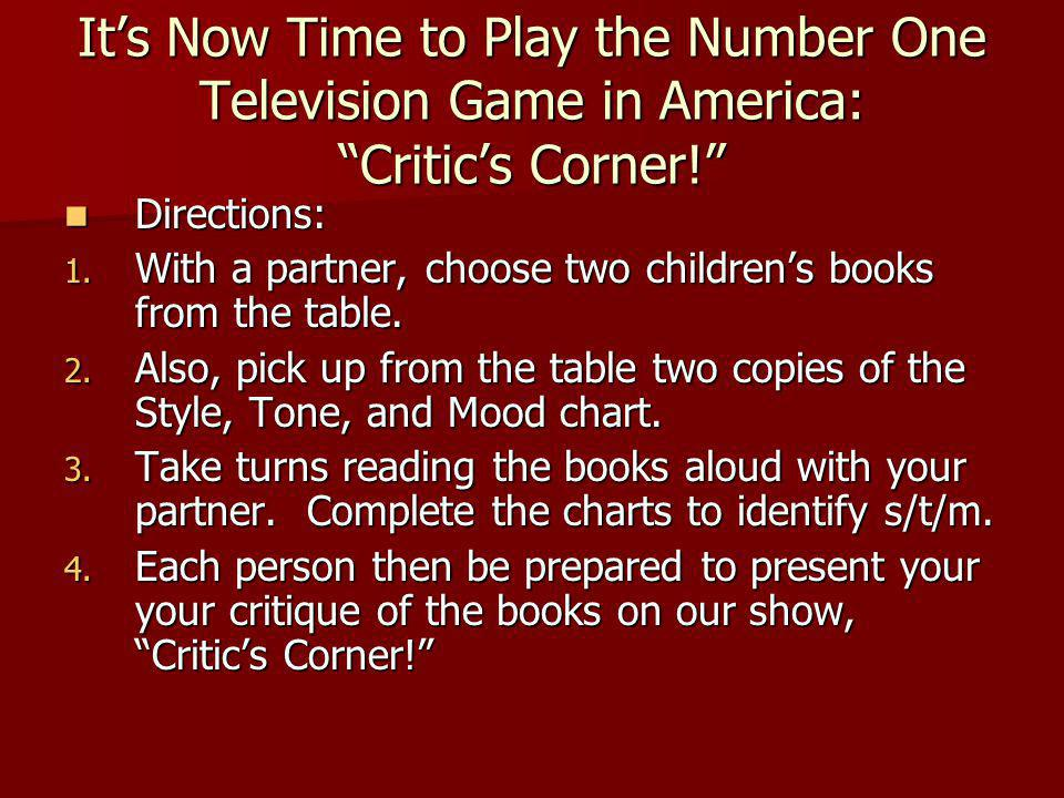 It's Now Time to Play the Number One Television Game in America: Critic's Corner!