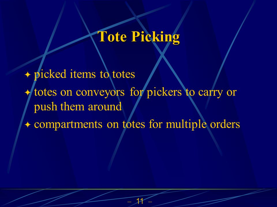Tote Picking picked items to totes