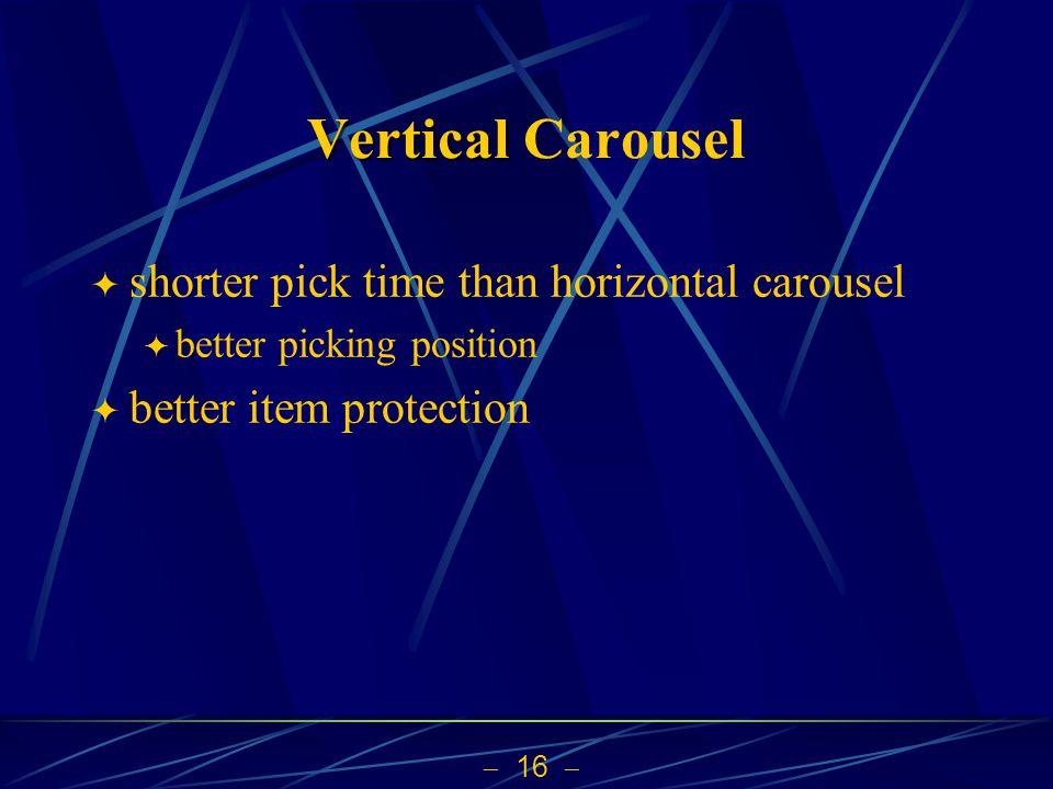 Vertical Carousel shorter pick time than horizontal carousel