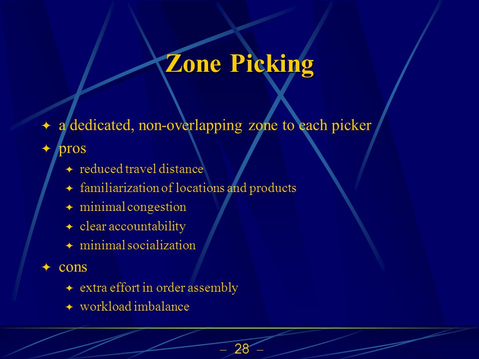 Zone Picking a dedicated, non-overlapping zone to each picker pros