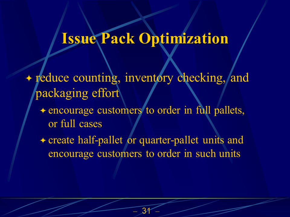 Issue Pack Optimization