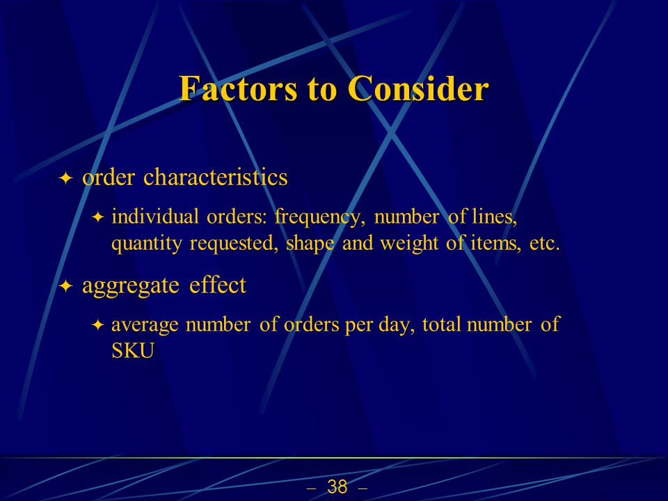 Factors to Consider order characteristics aggregate effect