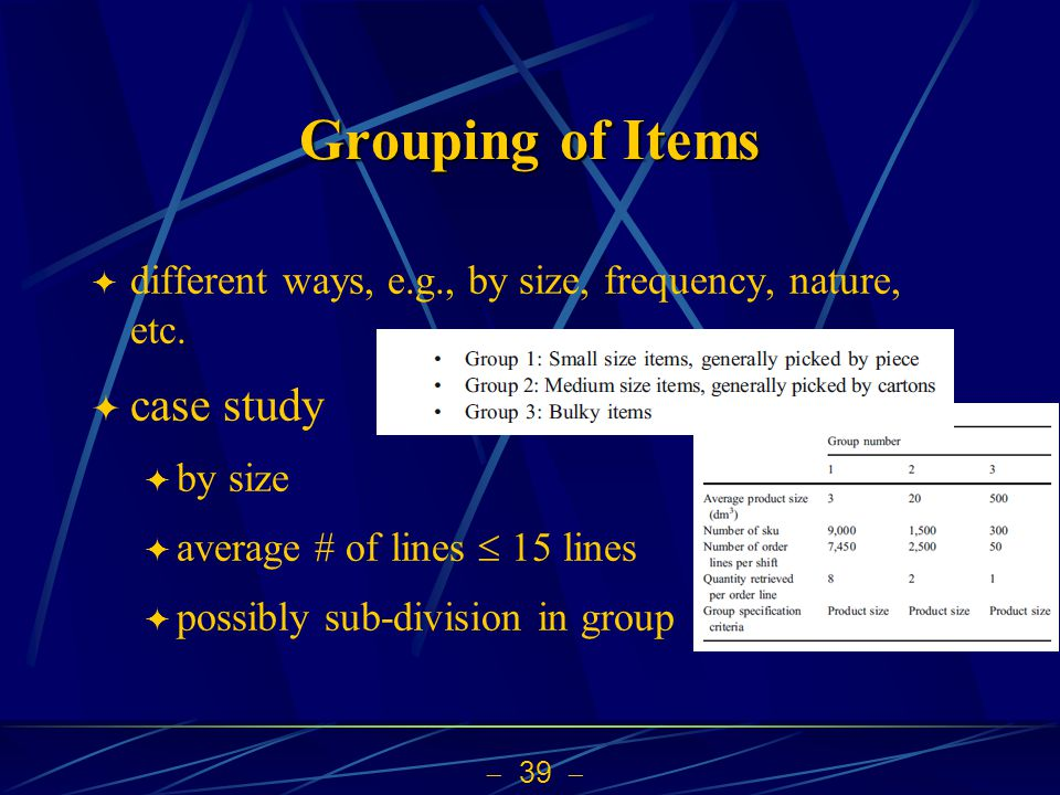 Grouping of Items case study