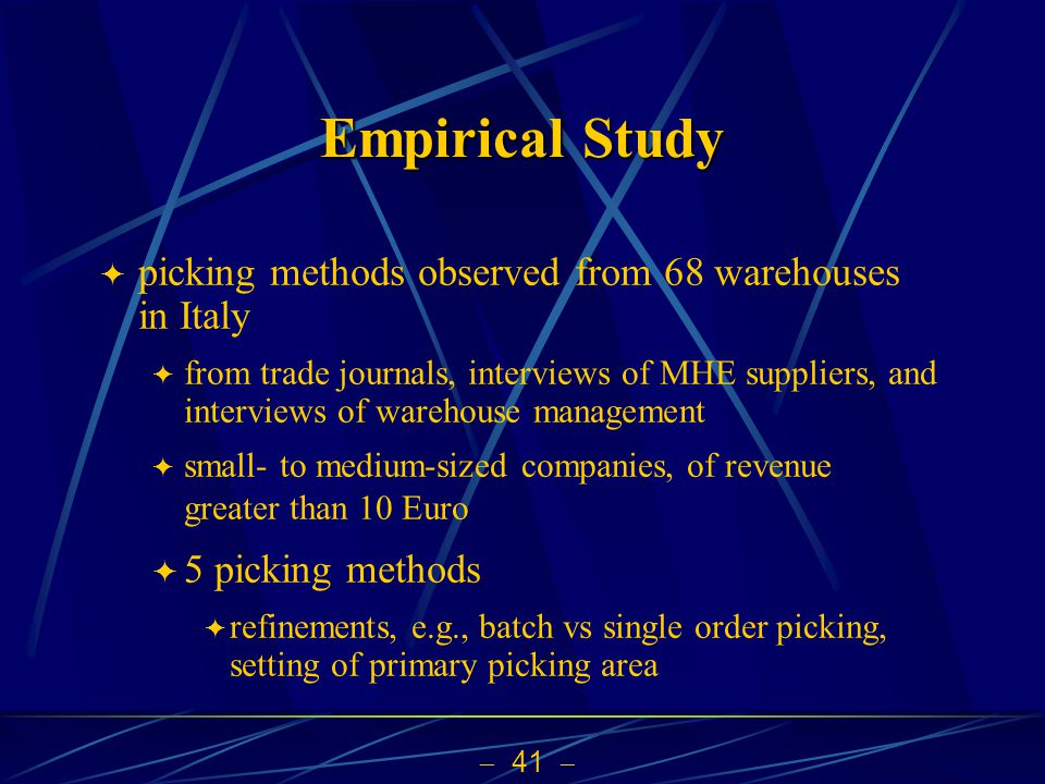 Empirical Study picking methods observed from 68 warehouses in Italy