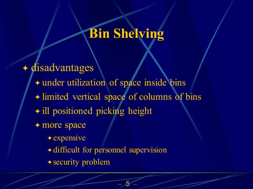 Bin Shelving disadvantages under utilization of space inside bins