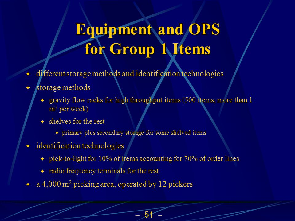 Equipment and OPS for Group 1 Items