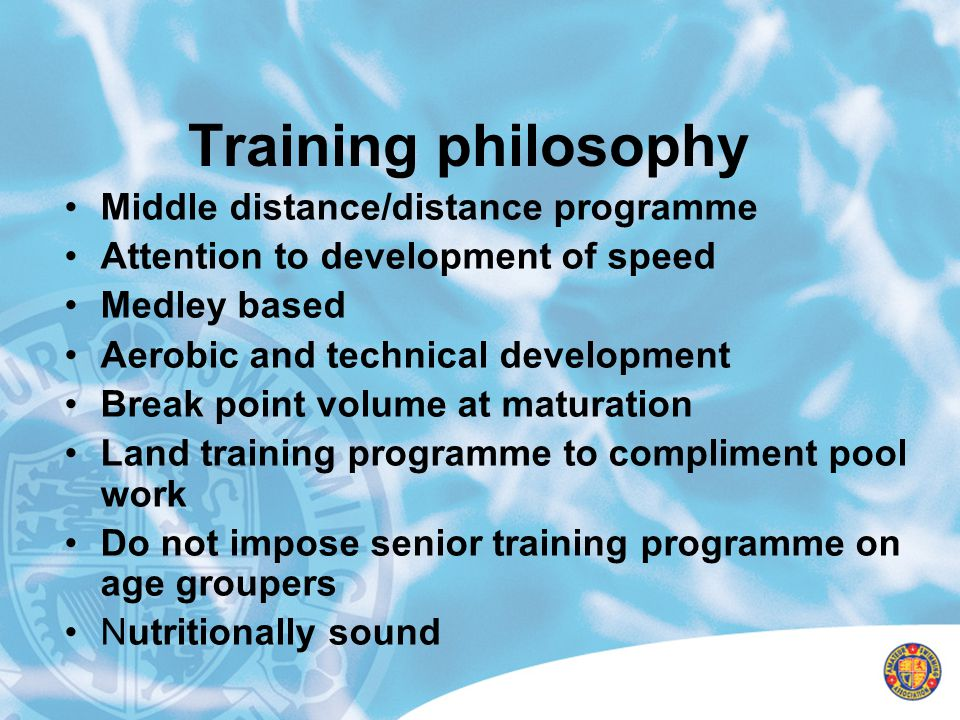 Training philosophy Middle distance/distance programme