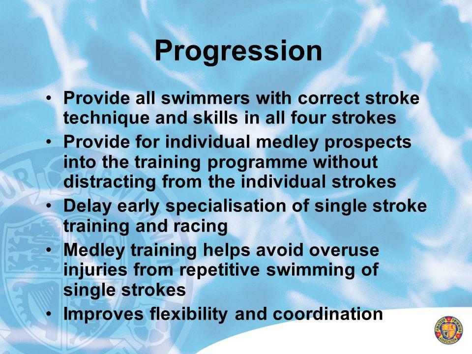 Progression Provide all swimmers with correct stroke technique and skills in all four strokes.