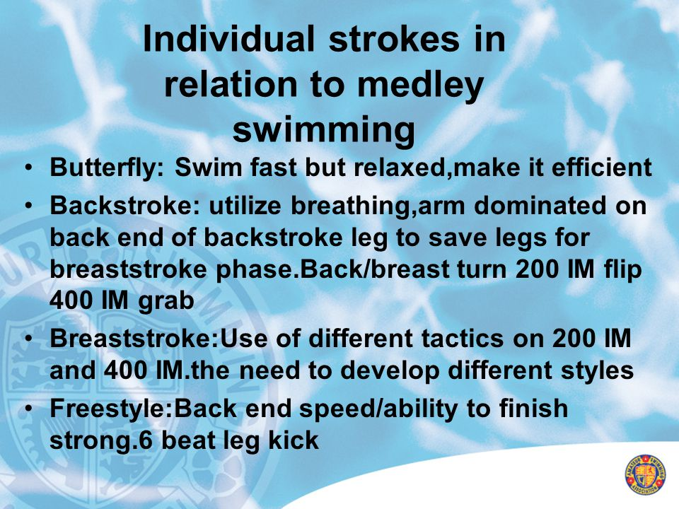 Individual strokes in relation to medley swimming