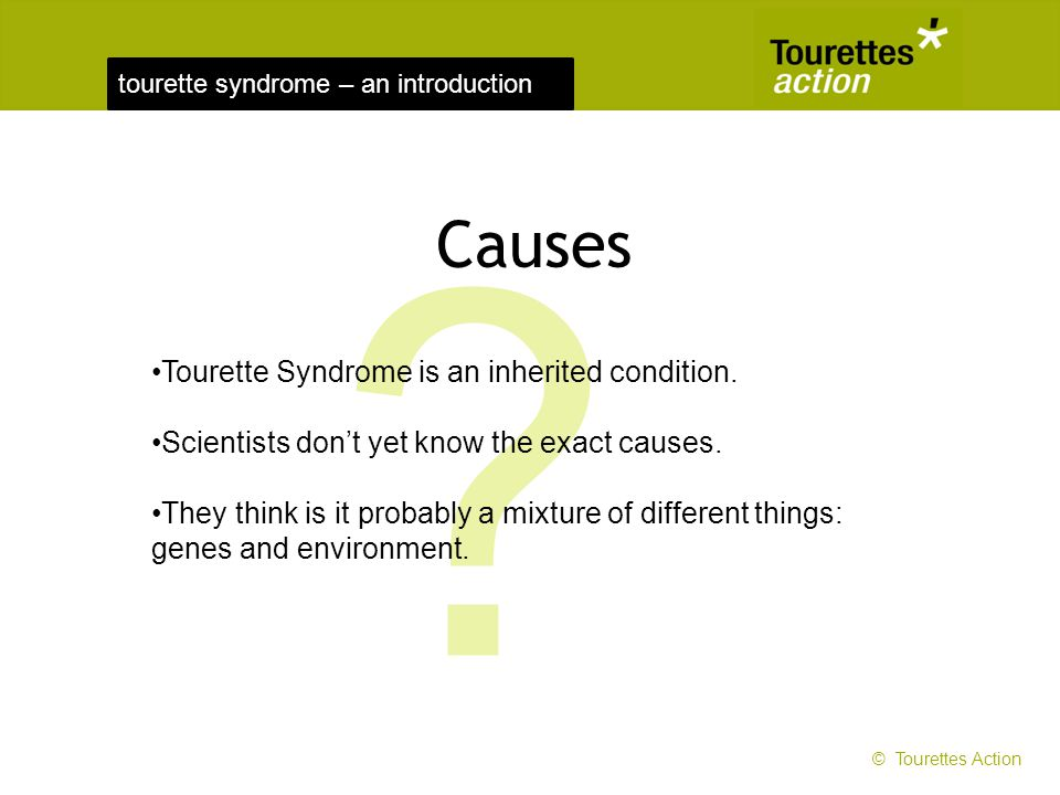 Causes Tourette Syndrome is an inherited condition.