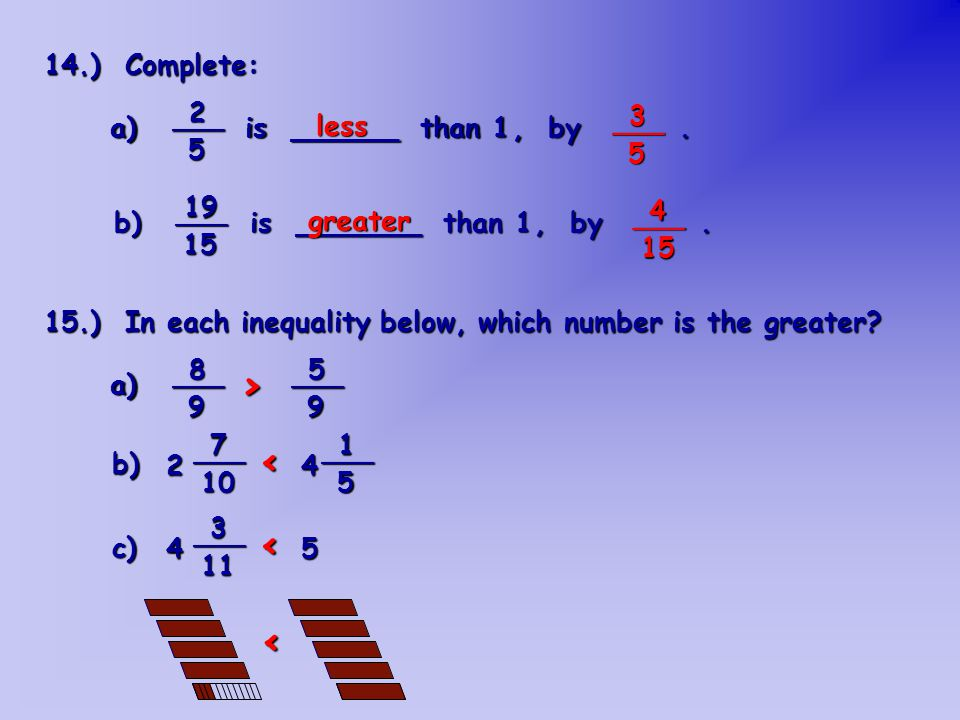 > < < < 14.) Complete: a) is ______ than 1 . less , by