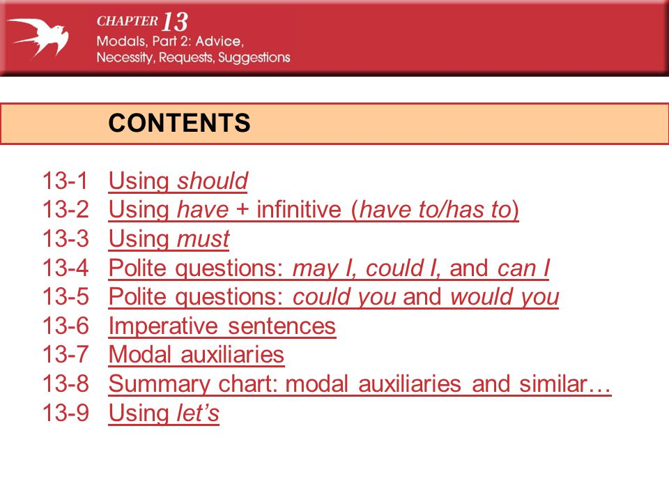CONTENTS 13-1 Using should