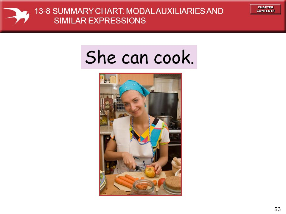 She can cook. 13-8 SUMMARY CHART: MODAL AUXILIARIES AND
