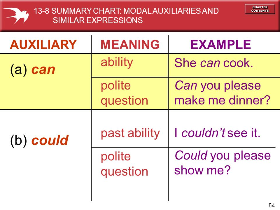 (a) can (b) could AUXILIARY MEANING EXAMPLE ability polite question