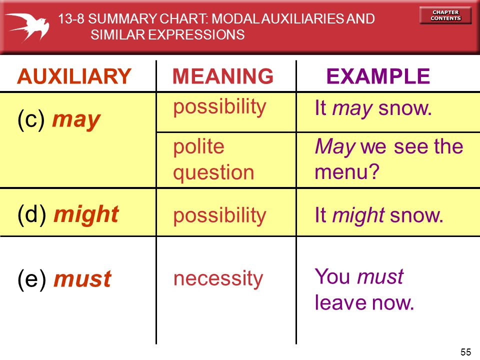 (c) may (d) might (e) must AUXILIARY MEANING EXAMPLE possibility