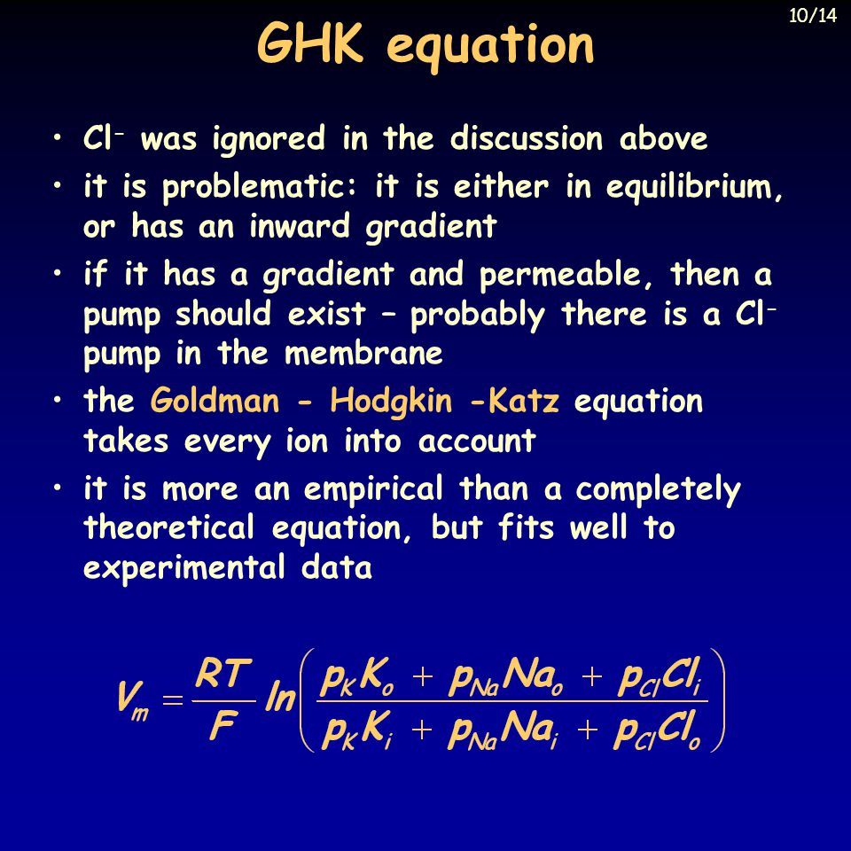 GHK equation Cl- was ignored in the discussion above