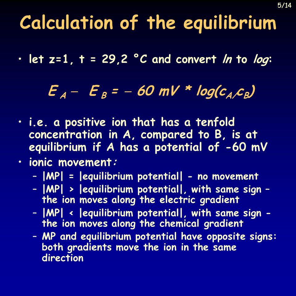 Calculation of the equilibrium